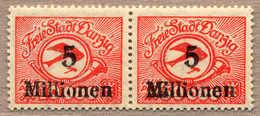 **/pair 1923, 5 Mio. Auf 50000 M, Paar, Linke Marke Mit Abart 180 F I (Aufdruck 5 Mio. Auf 10000 Statt 50000), Feld 73,  - Zonder Classificatie