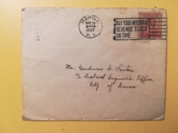 1937 BUSTA STORIA POSTALE FILIPPINE PHILIPPINE BOLLO PREVIOUS STAMPS ANNULLO MANILA OBLITERE' ETICHETTA TAXES - Filippine