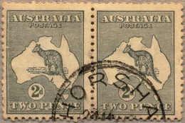 O 1915-28, 2 D., Grey, Used HORSHA(M), Wmk 6, Normal Die II In Pair With IIA FRAME BREAK (substituted Cliche), Perf. Var - Australien