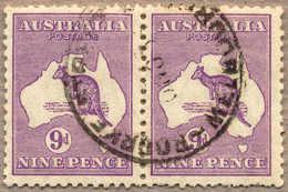 O 1929-30, 9 D., Violet, Used, Die II In Pair With Die IIB, Perf. Varies, Well Crentred And Rich Colour, Rare, F!. Estim - Australien