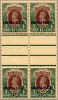 **/bof 1938, 15 R., Brown And Green, Interpanneau Block Of Four, Rare And Very Well Centred, VF!. Estimate 800€. - Indien