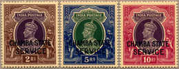 ** 1938-40, 2 - 10 R., CHAMBA STATE SERVICE, MNH, Well Centred, XF!. Estimate 200€. - Indien
