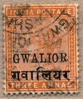 O 1885-97, 3 A., Brown Orange, Used, Varity SMALL R, In SG 2019 On Page 294 Only Listed Unused, Very Well Centred, Very  - Indien