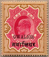 * 1908-11, 2 R., Carmine And Yellow Brown, MH, With Varity SMALL R OF GWALIOR, Very Well Centred And A Very Fresh Not Li - Indien