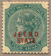 * 1885, 4 A., Green, JEEND, MH, Type 2, Very Fine And Fresh Appearance, F-VF!. Estimate 360€. - Indien