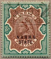 O 1885-1900, 3 R., Brown And Green, NABHA, Extremly Scarce Used, Only 576 Printed, XF!. Estimate 1.200€. - Indien