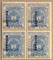 Bof/(*) 1933, 2 A., Ultramarine, Fresh Unused, With TRIPLE IMPRESSION Of The Opt SERVICE, One Vertical, A Very Rare And  - Indien