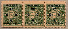 (*) 1949, 9 P. On 4 P., Green, Unused, With OPT VARIETY C For G, Very Fresh And Attractive In Strip Of Three, F-VF!. Est - Indien