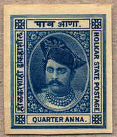 (*) 1889-92, 1/4 A., Deep Blue, Colour Trial, Imperf., Very Rare And Attractive, XF!. Estimate 500€. - Indien