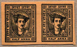 (*) 1940-46, 1/2 A., Imperforated Plate Proof, In Black On Toned Wove Paper, Pairs, From The Broken Up Sheets In The 197 - Indien