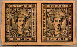 (*) 1940-46, 1 1/4 A., Imperforated Plate Proof, In Black On Toned Wove Paper, Pairs, From The Broken Up Sheets In The 1 - Indien