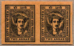 (*) 1940-46, 2 A., Imperforated Plate Proof, In Black On Toned Wove Paper, Pairs, From The Broken Up Sheets In The 1970s - Indien