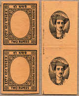 (*) 1940-46, 2 R., Imperforated Plate Proof, In Black On Toned Wove Paper, In Vertical Pairs Of Frame And Centre, From T - Indien