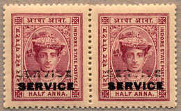 ** 1904, 1/2 A., Lake, MNH, Pair With DOUBLE OPT SERVICE In Black, Perfect Centred, Very Fresh And Rare As Multiple, SUP - Indien