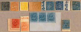 O/(*) 1874-85, Collection With Very Attractive Material, Incl. Some High Values Like J4,J7, J38 Or J50 Strip Of Three Fr - Indien
