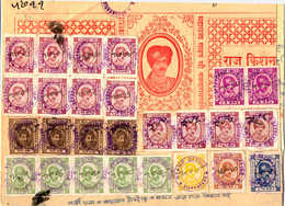 Cover 1928-42, 5 R., Clarte, Used, Strip Of 4 And Block Of 8 With 14 Additional Stamps On Part Of 4 A. Stamp Paper, An I - Indien