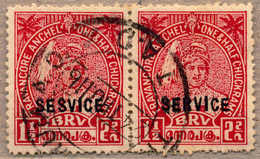 O 1939, 1 1/2 Ch., Scarlet, Used, Horizontal Pair With Opt Variety SESVICE For SERVICE, With Usual More Or Less Short Pe - Indien