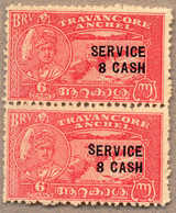 Pair/(*) 1943, 8 Ca. On 6 Ca., Scarlet, Fresh Unused, Vertical Pair With Opt Variety HIGH FIRST S Of SERVICE, Attractive - Indien
