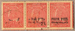 O 1949, 4 P. On 8 Ca., Carmine, Used, Perf 12 1/2, Strip Of Three, Huge Part Of OPT MISSING At The Left Two Stamps, Attr - Indien