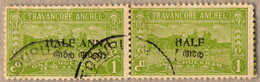 O/pair 1949, 1/2 A. On 1 Ch., Yellow Green, Used, Horizontal Pair With Opt Variety At Right Stamp ANNA Latin And Indian  - Indien