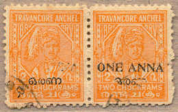 O/pair 1949, 1 A. On 2 Ch., Orange, Used, Perf 11, Pair, Left Stamp With Opt Varity At Missing Latin ONE ANNA, Just Some - Indien