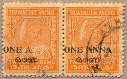 O/pair 1949, 1 A. On 2 Ch., Orange, Used, Perf 12 1/2, Pair, Left Stamp With Opt Variety NNA In ONE A(NNA) Missing, Scar - Indien