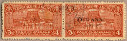 O/pair 1949, 2 A. On 4 Ch, Red Brown, Used, Perf 11, Pair, Cracked Opt And Nearly MISSING OPT At Left Stamp, Very Well C - Indien