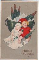 FANTAISIES . ILLUSTRATEURS . PROSIT NEUJAHR ! Enfant Et Bébé Avec Bouteilles De Vin . - Anno Nuovo