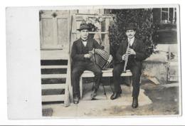 MUSICIEN Carte Photo Joueur D'accordéon Et Joueur De Flute - Música Y Músicos