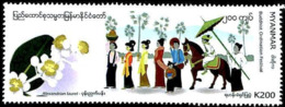 Myanmar 2019 1 V MNH Buddhist Ordination Festival Horses Horse Chevaux Cheval - Buddhismus