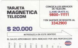 COLOMBIA(Tamura) - Telecom Services($20000), Tirage 10000, Used - Kolumbien
