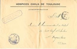 31-cachet Hôpital N°42 Bis Sur Lettre à En-tête Des Hospices Civils De Toulouse En 1914 - Marcophilie (Lettres)
