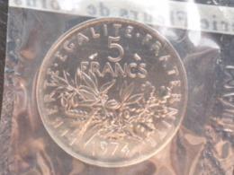 FDC SCELLE 5 FRANCS NICKEL SEMEUSE 1974 - J. 5 Francs