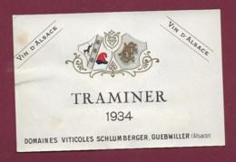 220919A - ETIQUETTE VIN BLANC - TRAMINER 1934 Vin D'Alsace Domaines Viticoles SCHLUMBERGER GUEBWILLER Ets UNGEMACH - Gewürztraminer