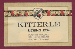 220919A - ETIQUETTE VIN BLANC - KITTERLE RIESLING 1934 Domaines Viticoles SCHLUMBERGER GUEBWILLER Ets UNGEMACH - Riesling