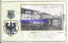 120164 GERMANY OPPELN ART EMBOSSED HERALDRY AND VIEW PARTIAL CIRCULATED TO BERLIN POSTAL POSTCARD - Deutschland