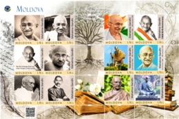 Moldova 2019, Famous People, Mahatma Gandhi, 150th Birth Anniversary, Sheetlet Of 12v - Moldova