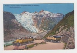 BB503 - SUISSE - Auto - Post An Der Furka-Strasse. Blick Auf Belvédère Und Rhonegletscher - Bel Autobus ! - VS Valais