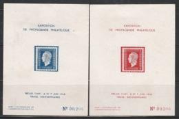 BLOCS DULAC ROUGE + BLEU - EXPO. PHILATÉLIQUE FRÉJUS 6/48 - Neufs Sans Gomme D'origine Avec Charnière - 1944-45 Marianne De Dulac