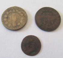 France - 3 Monnaies Dont Double Tournois, 12 Deniers Louis XVI (1792 ?) D. (Dijon), 5 Centimes Dupré AN 7 BB - France