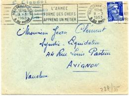 BOUCHES Du RHONE - Dépt N° 13 = MARSEILLE GARE 1953 = FLAMME RBV ' L'armée / Forme Des Chefs / Apprend Un Métier ' - Marcofilia (sobres)