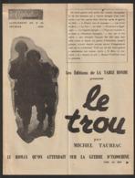 """GUERRE  D' INDOCHINE .Pub Pour Le Livre  """" LE TROU """"  De Michel TAURIAC - Suppl De 1955 Au """"Conbattant D'Indochine"""" N°33 - Pubblicitari"""