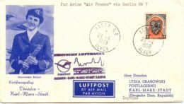 ALGERIEN 1958 Zuleitung M AIR FRANCE Aus ALGER Erstflug DRESDEN-KARL-MARX-STADT - Poste Aérienne