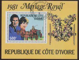 IVORY COAST 1981, MS Wedding Of Prince Charles And Diana Spencer, Superb Used MS Plate Error - Ivory Coast (1960-...)