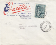 Lettera Con Francobollo Isolato Centenario Istruzione Professionale  L. 25 Da Pavia  Per Ferrara - 1946-.. République