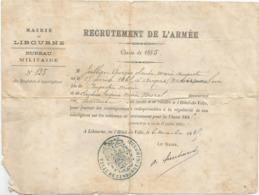 MAIRIE DE LIBOURNE , BUREAU MILITAIRE : RECRUTEMENT DE L ARMEE CLASSE 1885 - Dokumente