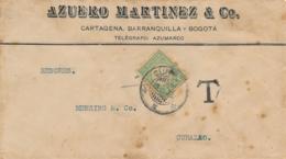 Colombia / Curacao - 1922 - 30 Cent Port P28 Enkelfrankering Op Taxed Businesscover Van Bogota Naar Curacao - Curaçao, Antilles Neérlandaises, Aruba