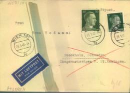 1945, Luftpostbrief Nach Schweden Ab WIEN 29.1.45 Mit Chemischer Zensur. - Cartas