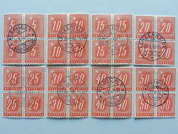 1938, Viererblockserie, Geriffeltes Papier (8) - Portomarken