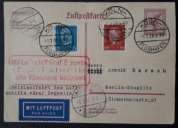 DR-Zeppelinpost, Ganzsache P169a - Luftschiff Graf Zeppelin, Rheinlandfahrt - Nach Sieger 72i Mit Ankuntfsstempel (1019) - Germany